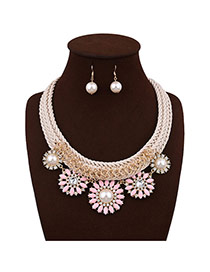 Elegant Pink Round Shape Pearl Decorated Simple Hand-woven Necklace