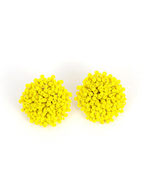 Lovely Yellow Beads Decorated Pure Color Design Simple Earrings