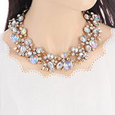 Fashion Multi-color Round Diamond Decorated Hollow Out Design Necklace