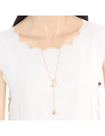 Elegant Gold Color Hollow Out Moon Decorated Simple Long Chain Necklace