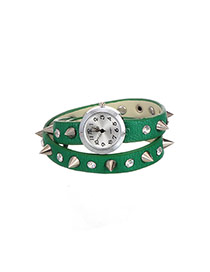 Personality Green Metal Rivet Decorated Simple Double Layer Wrist Watch