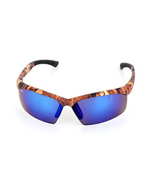 Personality Brown+blue Printing Decorated Simple Square Shape Design Sunglasses