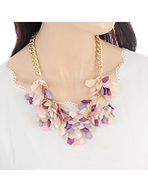 Fashion Multi-color Flower Shape Pendant Decorated Simple Necklace