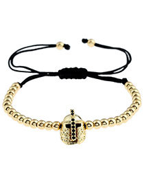 Personality Gold Color Metal Helmet Decorated Simple Pure Color Design Bracelet