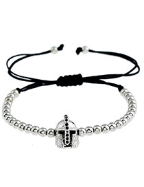 Personality Silver Color Metal Helmet Decorated Simple Pure Color Design Bracelet