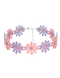 Lovely Pink+purple Color Matching Decorated Flower Design Choker