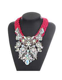 Bohemia Plum-red Waterdrop Shape Diamond Decorated Hand-woven Necklace