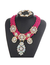 Bohemia Plum-red Oval Shape Diamond Decorated Simple Hand-woven Jewelry Sets