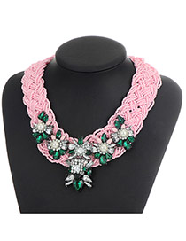 Bohemia Pink Oval Shape Gemstone Decorated Simple Hand-woven Jewelry Sets