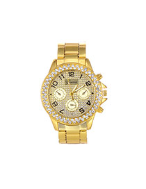 Fashion Gold Color Diamond Decorated Pure Color Round Dail Watch