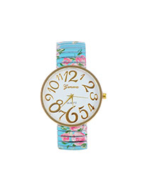 Fashion Blue Painting Flower Pattern Decorated Round Daild Watch