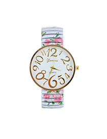 Fashion White Painting Flower Pattern Decorated Round Daild Watch