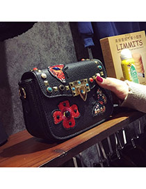 Fashion Black Metal Rivet Decorated Simple Square Shape Design Bag