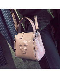 Personality Pink Skull Pattern Decorated Simple Pure Color Bag