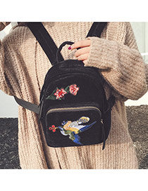 Vintage Black Patch Decorated Pure Color Design Simple Backpack