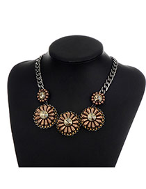 Fashion Coffee Pearls Decorated Flower Shape Design Simple Necklace