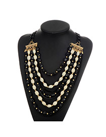 Fashion Black Beads Decorated Multi-layer Color Matching Necklace