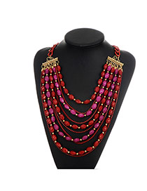 Fashion Red Beads Decorated Multi-layer Color Matching Necklace