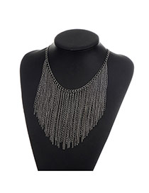Fashion Black Long Tassel Pendant Decorated Pure Color Necklace