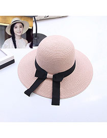 Fashion Pink Bowknot Decorated Simple Pure Color Hat