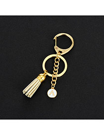 Fashion Beige Metal Round Shape &tassel Decorated Simple Key Ring