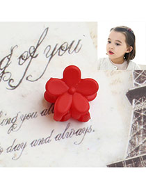 Fashion Red Flower Decorated Pure Color Simple Hair Pin