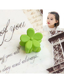 Fashion Green Flower Decorated Pure Color Simple Hair Pin