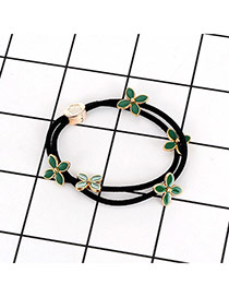 Fashion Green Flower Decorated Double Layer Color Matching Hair Band