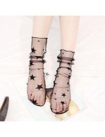 Fashion Black Star Pattern Decorated Hollw Out Simple Socks