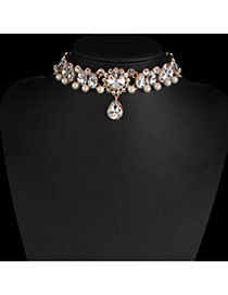 Fashion Gold Color Pearls&diamond Decorated Hollow Out Design Choker