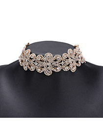 Fashion Gold Color Full Diamond Decorated Hollow Out Flower Design Choker