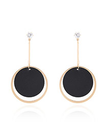 Trendy Black Circular Ring Decorated Color Matching Simple Earrings