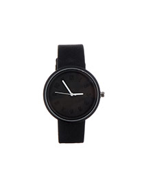 Fashion Black Pure Color Decorated Round Dail Design Watch