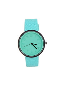 Fashion Green Color Matching Decorated Round Dail Design Watch