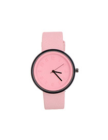 Fashion Pink Color Matching Decorated Round Dail Design Watch