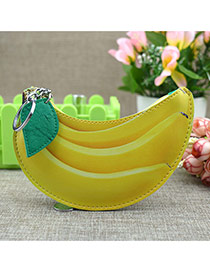 Fashion Yellow Circular Ring&leaf Pendant Decorated Banana Shape Simple Wallet