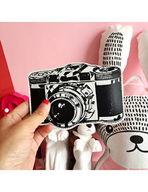 Fashion Black Color Matching Decorated Camera Shape Design Wallet