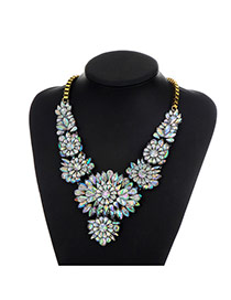 Fashion Multi-color Round Shape Diamond Decorated Flower Shape Necklace
