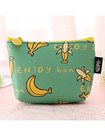 Fashion Blue Banana Pattern Decorated Square Shape Simple Wallet