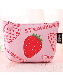 Fashion Pink Strawberry Pattern Decorated Square Shape Simple Wallet