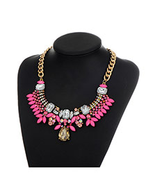 Fashion Plum Red Oval Shape Diamond Decorated Colro Matching Simple Necklace
