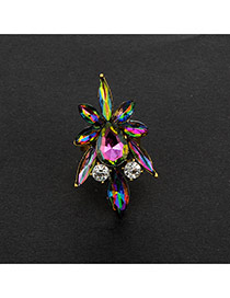 Fashion Multi-color Oval Shape Diamond Decorated Color Matching Simple Ring