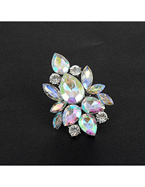 Fashion Multi-color Water Drop Shape Diamond Decorated Hollow Out Ring