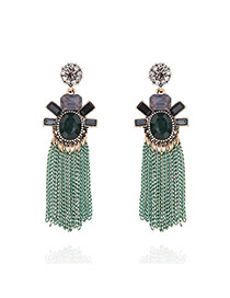 Vintage Green Long Tassel Pendant Decorated Color Matching Simple Earrings