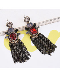 Vintage Black Long Tassel Pendant Decorated Color Matching Simple Earrings