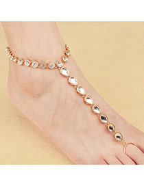 Exaggerated Gold Color Water Drop Shape Diamond Decorated Pure Color Anklet