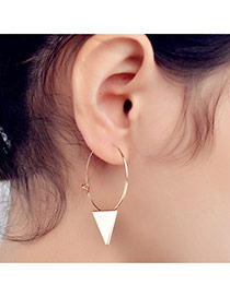 Fashion Gold Color Triangle Shape Decorated Pure Color Simple Earrings