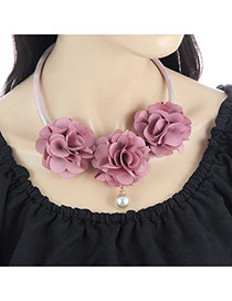 Fashion Pink Three Flowers Decorated Pure Color Simple Necklace