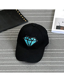 Fashion Black Embroidery Diamond Pattern Decorated Pure Color Baseball Cap