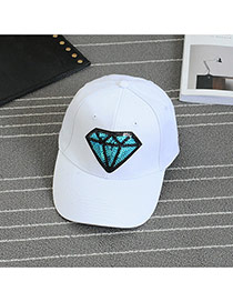 Fashion White Embroidery Diamond Pattern Decorated Pure Color Baseball Cap